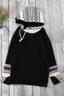 Sudadera negra con capucha doble con capucha para el pulgar
