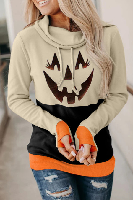 Moletom preto com estampa de abóbora com estampa de cor bloco de Halloween