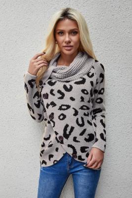 Серый повседневный вязаный свитер с леопардовым принтом