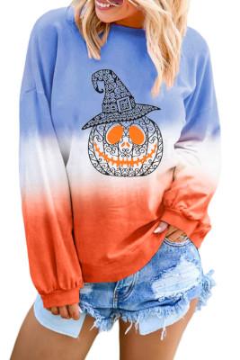 Himmelblau Ombre Farbblock Halloween Kürbis Sweatshirt