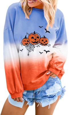 Color Block Halloween Pumpkin Sweatshirt
