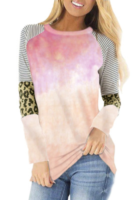 Apricot Tie-dyed Striped and Leopard Long Sleeves Top