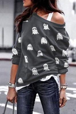 Felpa grigia con stampa di fantasmi di Halloween