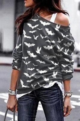 Graues Fledermausdruck-Sweatshirt