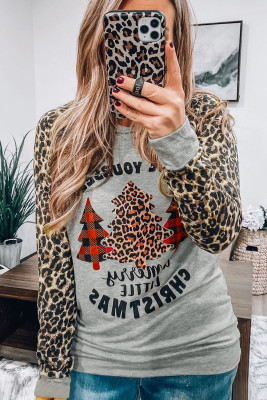 Gray Leopard Sleeves Christmas Tree Print Top