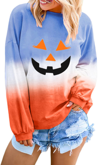 Orange Ombre Farbblock Halloween Kürbis Sweatshirt