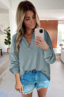 Buttoned V Neck Cotton Loose Fit Top