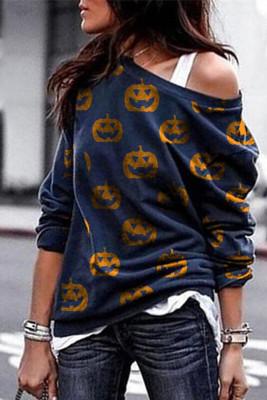 Navy Pumpkin Print Sweatshirt