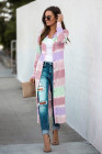 Purple Colorblock Pocketed Button Duster Cardigan