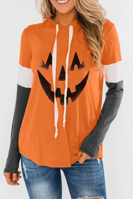 Orange Charcoal Halloween Pumpkin Print Hoodie
