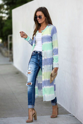 Blue Colorblock Pocketed Button Duster Cardigan