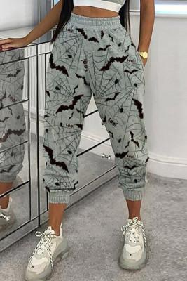 Pantalones casuales grises con estampado de murciélago de Halloween