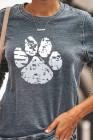 Graues Pfoten-Sweatshirt mit rundem Hals
