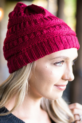 Mountainside Adventures Wine Knit Beanie