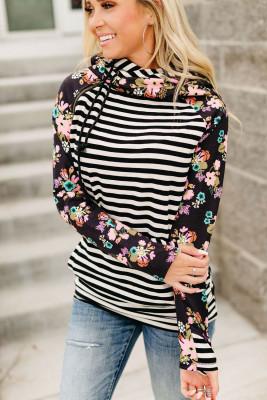 Pull à capuche zippé à manches longues et imprimé floral rayé noir