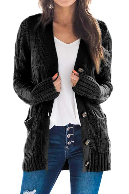 Black Button Pocket Knit Cardigan