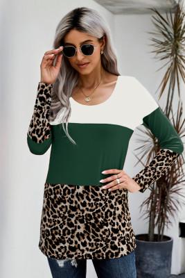 Зеленый топ с длинными рукавами и леопардовым принтом в стиле пэчворк с цветными блоками