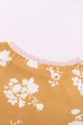 Yellow Striped Floral Splicing Lantern Sleeve Top