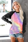 Mehrfarbige Langarm-Sweatshirts mit Batikdruck