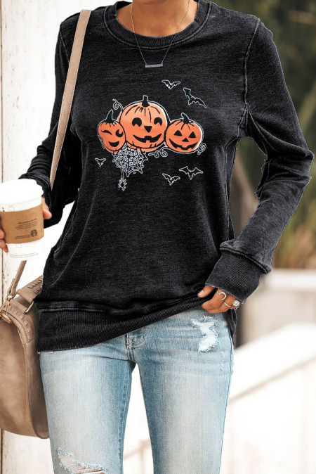 Schwarzes Halloween-Pullover-Sweatshirt mit rundem Hals und Kürbis-Print
