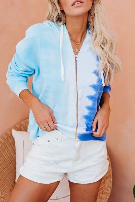 Синий худи с принтом тай-дай и кулиской на молнии с цветными блоками