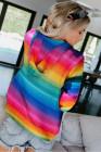 Mehrfarbige, durchgefärbte Reißverschluss-Tasche mit Kordelzug und Kapuzenjacke