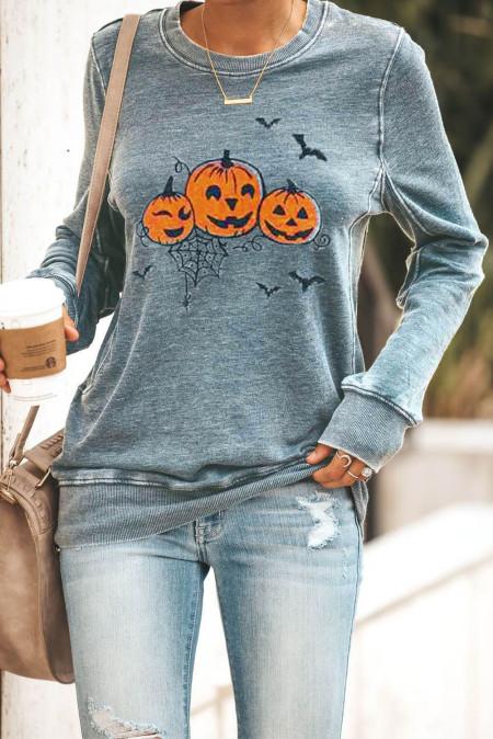 Graues Halloween-Pullover-Sweatshirt mit Rundhalsausschnitt und Kürbis-Print