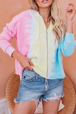Sudadera con capucha de bloque de color teñido anudado con cremallera azul rosa