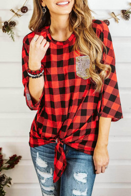 Casual 3/4 Flared Sleeve Plaid Print Knot Tie Top