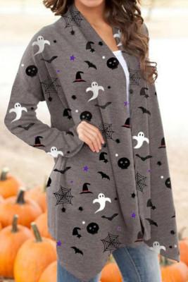 Halloween Spirit bedruckte graue Strickjacke