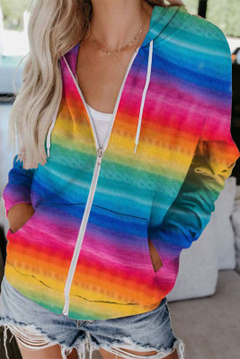Veste à capuche multicolore à cordon de serrage et poche zippée teinte par nœuds