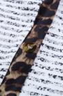 Leopard Patchwork lange gestreifte Strickjacke mit Taschen