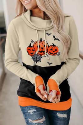 Оранжевый свитшот на Хэллоуин с принтом тыквы и хомутом Color Block