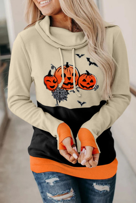 Orange Cowl Neck Pumpkin Print Farbblock Halloween Sweatshirt