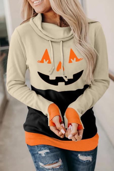 Cowl Neck Pumpkin Print Farbblock Halloween Sweatshirt