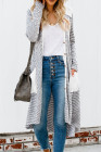 Solid Patchwork Long Striped Cardigan with Pockets