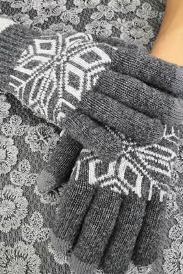 Szare rękawiczki tekstylne z ekranem dotykowym