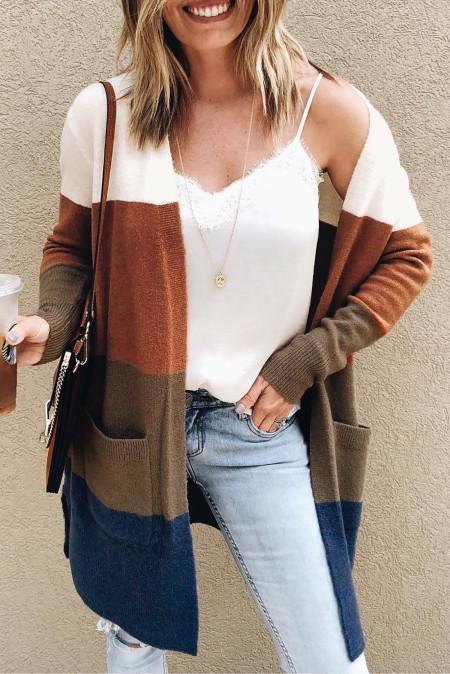 Colorblock Longline Cardigan mit Tasche