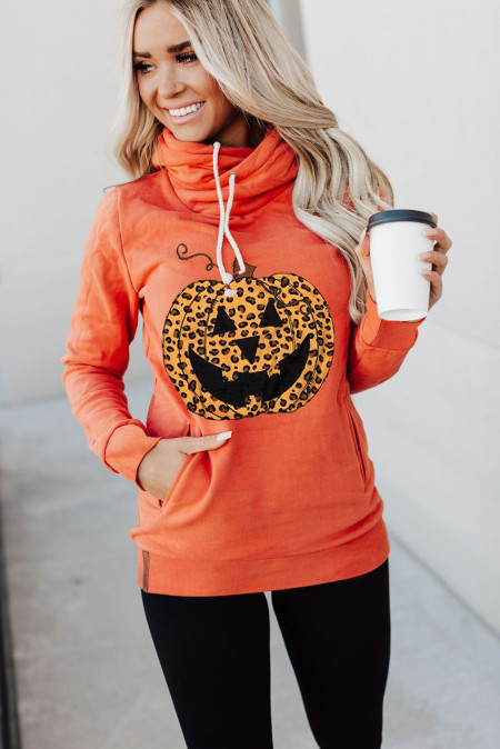 Orange Hoodl Neck Pumpkin Print Halloween Hoodie