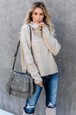 Beige Grid Pattern Turtleneck Sweater