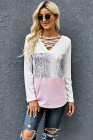 Crisscross V Neck Snake Print Colorblock Long Sleeve Top