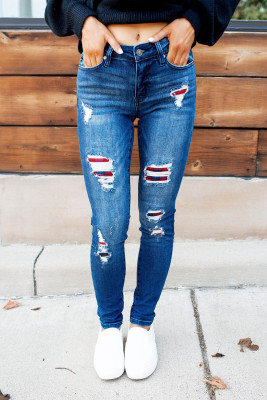 Dark Wash Mid Rise Distressed Plaid Patch Skinny Jeans
