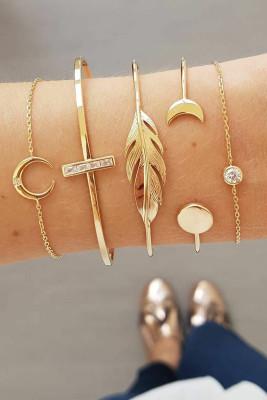 5 stuks maan & blad armbanden