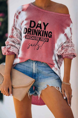 Pink Letter Print Cut-out Tie Dye Lantern Long Sleeve Top