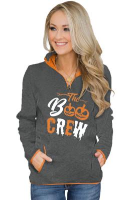 Black Quarter Zip Halloween inspirierte Print Sweatshirt mit Taschen