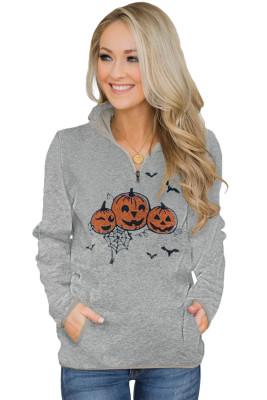 Grey Quarter Zip Halloween inspirierte Print Sweatshirt mit Taschen