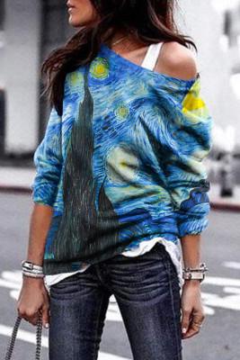 Dunkelblaue Malerei Druck Pullover Sweatshirt