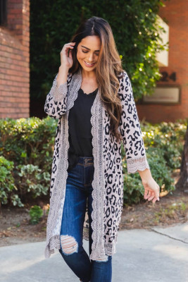 Gray Leopard Print Lace Knee Length Cardigan