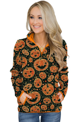 Orange Quarter Zip Halloween Inspired Print Sweatshirt With Pockets
