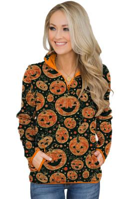 Orange Quarter Zip Halloween inspirierte Print Sweatshirt mit Taschen